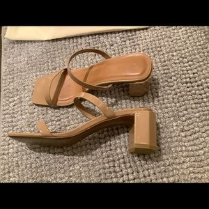 By far Tanya Nude Patent Leather Mule Sandals
